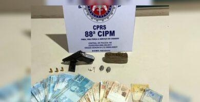 Dupla é presa com pistola e droga na cidade do Prado